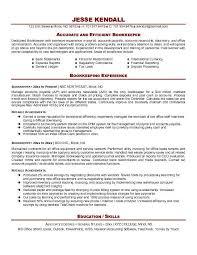 bookkeeper sample resume