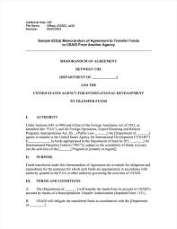 Memorandum Sample Sample 632 A Memorandum Of Agreement To Transfer Funds To Usaid