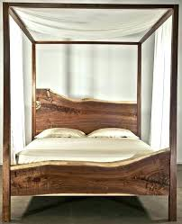 Wooden Canopy Bed Frame Furniture Natural Head And Foot Board Rustic ...