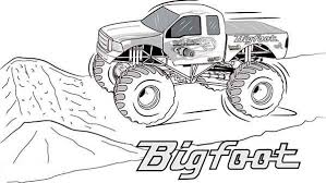 Monster Truck Bigfoot Monster Truck Coloring Page Free