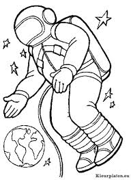 Astronaut Kleurplaten Kleurplateneu