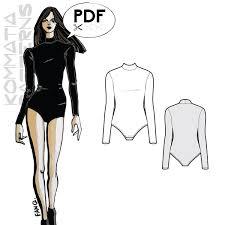 Bodysuit Sewing Pattern Extraordinary B48 Turtleneck Bodysuit PDF Sewing Pattern By Kommatia Patterns