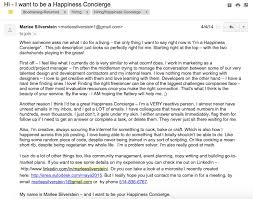 Cover letter for a customer happiness concierge