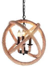 retro style 3 light metal hemp rope chandelier