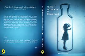 from a designers p o v this is a simplistic idea where alice is sillouhetted and trapped in a bottle using deep blues around the edges of the book cover