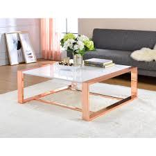 coffee table furniture. ACME Furniture Porviche White High Gloss And Rose Gold Coffee Table N