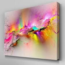 ab970 modern pink yellow large canvas