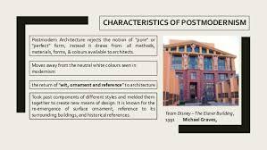 CHARACTERISTICS OF POSTMODERNISM Postmodern Architecture ...
