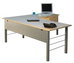 metal office tables. Simple Steel L Shaped Gray Office Table Desks Furniture Design Ideas For Home With Wood Materials Flat Top Surface And Modern Computer Accessories Metal Tables