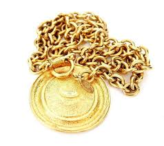 1980s vintage chanel big medallion pendant necklace rare gold in excellent condition for in