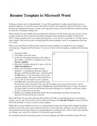Resume Template In Microsoft Word 2007 Cv For College Student