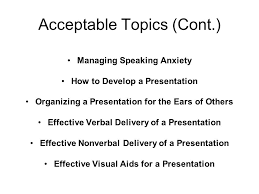 presentation topic possibilities hcom instructor ppt 9 acceptable topics cont managing speaking anxiety how to develop a presentation
