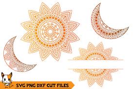 Summer sun free svg cutting file & clipart includes: Sun Moon Monogram Mandala Svg Png Dxf Cut Files 363081 Cut Files Design Bundles