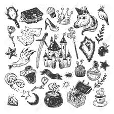 Elements Of A Fairy Tale Hand Drawn Vector Set With Elements From Fairy Tale Fantasy
