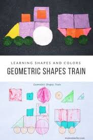 geometric shapes train and transportation themed learning activities