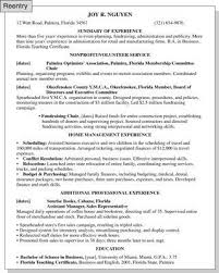 Reentering The Workforce Resume Samples