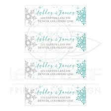 Winter Wedding Address Labels Labels Turquoise Silver Snowflake
