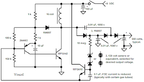 geiger counter circuits some transformers and zeners the circuit will work better if the 10 megohm resistor is moved up to be in series the diodes see next schematic