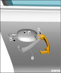 volkswagen work manuals up body general body repairs exterior front door central locking ponents removing and installing door handle