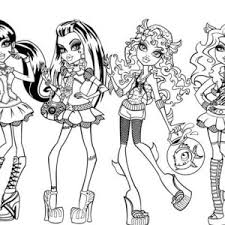 Small Picture Draculaura and Friends in Dancer Clothes in Monster High Coloring