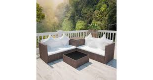 <b>4 Piece Garden Lounge</b> Set with Cushions Poly Rattan Brown - Matt ...