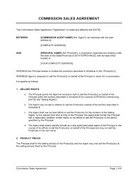 Sales Commissions Template Commission Sales Agreement Template Word Pdf By Business In A Box