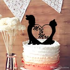 2019 Funny Cake Topper Unique Topper Dog And Cat With Mr And Mrs