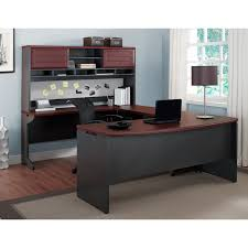white gray solid wood office. And Big Drawers U Shaped Black Particle Wood Office Desk With Dark Brown Wooden Full Bull Nose Edge Profile White Gray Solid F