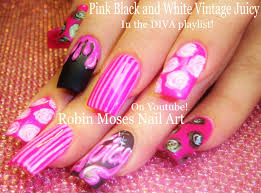 Pink Long Nail Art Design | Vintage Diva Nails with roses and ...
