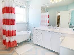 shabby chic bathroom bathroom. Stylish Shabby Chic Bathroom In Coral, Blue And White [Design: Four Chairs Furniture Y