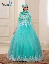 2017 Muslim Wedding Dresses With Hijab High Neck 3 4 Sleeves Mint