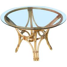 red rattan bentwood dining table with round glass top for
