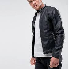 authentic barneys originals black faux leather biker jacket men s fashion clothes on carou