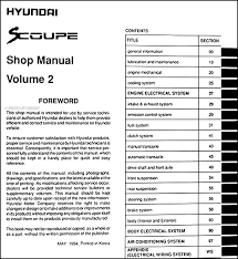 hyundai scoupe repair shop manual original volume set this manual set covers all 1995 hyundai scoupe models including ls turbo these books measure 8 5 x 11 and are 1 63 thick together