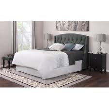 low profile king bed frame with grey upholstered headboard also