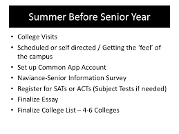 "class of "" rising senior"" parent presentation class of  6 summer before senior"