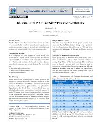 Pdf Blood Group And Genotype Compatibility