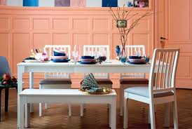 ikea white ekedalen dining table with white ekedalen bench and bright colours