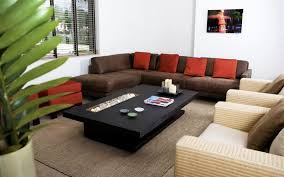 Living Room. . L Shaped Brown Sofa And White Sofa With Brown And Red  Cushions