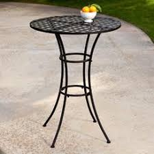 AXON Black Wrought Iron Outdoor Bistro Patio Table with Timeless Round  Tabletop