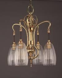 art nouveau brass 4 branch chandelier upton glass shades antique lighting