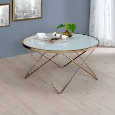 19 round glass top coffee table with v