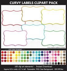 Labeling Binders Curvy Labels Clipart Pack 100 Colors Scrapbook Party Food Labels School Binders Teacher Outline Gift Tags Commercial Use Ok