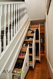 Majestic White Wooden Rail Handle Stairs With Shoes Racks As Storage Under  Stairs Ideas For Space Saving Furniture Designs