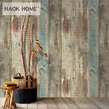 Haokhome Vintage Faux Hout 3d Vinyl Behang Rolls Bruintan Schuur