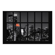 Fototapete New York Fenster New York Nacht Skyline Vliestapete