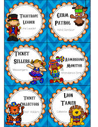Step Right Up Circus Themed Classroom Job Cards Editable