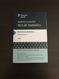 My Stats Lab New Design Stand Alone Mylab With Etext For Elementary Statistics 13 Ed Pearson Education Access Code