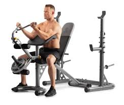 Golds Gym Xrs 20 Adjustable Olympic Workout Bench With Squat Rack Leg Extension Preacher Curl And Weight Storage