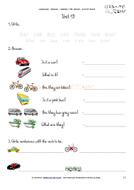 PRINTABLE BEGINNER ESL PRE-JUNIOR WORKSHEET 19 - MEANS OF TRANSPORT